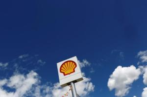 A logo of Shell is pictured at a gas station in the western Canakkale province